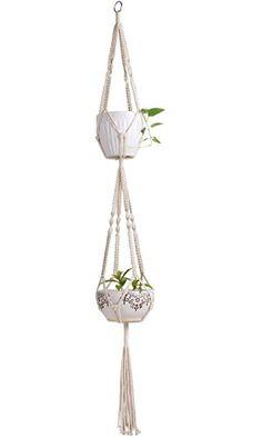Mkono Macrame Double Plant Hanger Indoor Outdoor Hanging Planter Cotton Rope 4 Legs 67 Inch