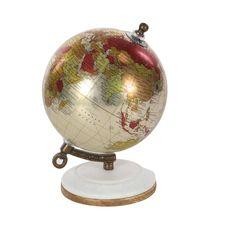 Havenside Home Studio 350 Metal (Grey) Pu Wood Marble Globe 5 inches wide, 7 inches high