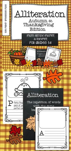 Alliteration made fun and easy! This engaging resource provides useful practice in using alliteration with an autumn or Thanksgiving theme—you choose!