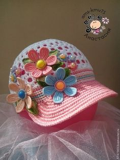 Ideas crochet baby hats with flowers yarns Crochet Flower Hat, Crochet Beanie Pattern, Crochet Cap, Crochet Girls, Freeform Crochet, Crochet Baby Booties, Crochet For Kids, Crochet Scarves, Crochet Shoes