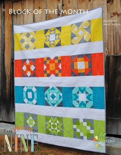 """The Power of Nine ~ 62"""" x 78"""" QuiltThis Modern Block of the Month is designed entirely with twelve 9~patch blocks.This PDF pattern comes with complete instructions for all twelve blocks and quilt top assembly.  This modern quilt is pieced in Kona Cotton and a complete list of kona colors is included.  I hope you love it as much as I do!  Check out the blog for a scrappy version quilt~a~long.After checkout is complete, you will receive a confirmation email a..."""