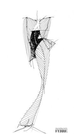 Fondazione Gianfranco Ferré / Collections / Woman / Prêt-à-Porter / 2001 / Fall / Winter Fashion Design Sketchbook, Fashion Design Portfolio, Fashion Illustration Sketches, Fashion Design Drawings, Fashion Sketches, Drawing Sketches, Sketching, Silhouette Mode, Fashion Silhouette