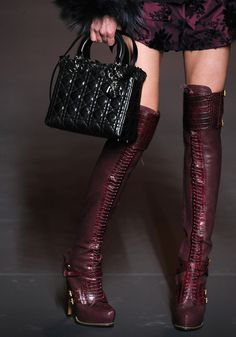 Christian Dior Guetre and Alligator lace-up thigh high boots