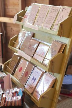 Retail greeting card display retail display there are really Craft Stall Display, Craft Fair Displays, Market Displays, Wooden Display Stand, Display Ideas, Card Displays, Greeting Cards Display, Booth Ideas, Craft Booths