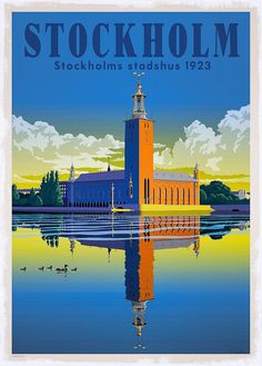 Stockholm, by Thomas Olsen, 1923 Foto Madrid, Poster City, Tourism Poster, Art Deco Posters, Travel Illustration, Vintage Travel Posters, Grafik Design, Illustrations And Posters, Pictures Images