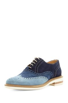 Thomas Dean #blue Suede Multi-Tone Wingtip. Fresh men's fashion daily... follow http://pinterest.com/pmartinza