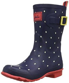 Joules Womens Mollywelly Short Rain Boot Navy Spot 9 M US -- Want additional info? Click on the image.