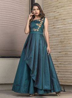Teal blue ready made gown. Work - Hand work and thread work. Indian Wedding Gowns, Indian Gowns Dresses, Sari Dress, Anarkali Dress, Anarkali Suits, Indian Designer Outfits, Designer Gowns, Designer Kurtis, Long Gown Pattern