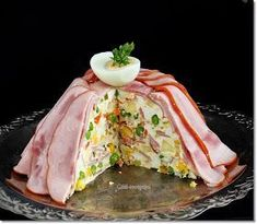 Gizi-receptjei. Várok mindenkit.: Aszpikos sonkatorta. Afternoon Tea, Good Food, Appetizers, Favorite Recipes, Easter, Meals, Cooking, Breakfast, Ethnic Recipes
