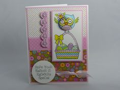 Included is one handmade Easter card featuring an owl sitting on top an Easter basket of eggs. The image was colored with Copic markers; the