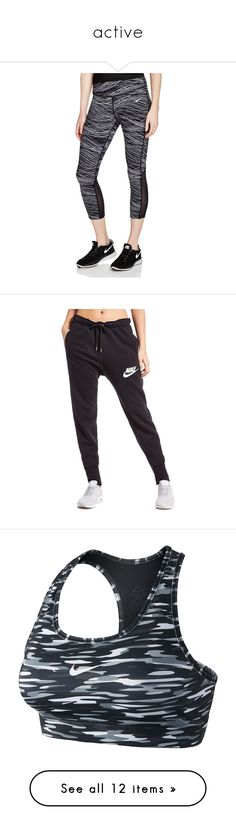 """""""active"""" by ashleygipson48 ❤ liked on Polyvore featuring activewear, activewear pants, black, nike sportswear, nike activewear, nike, nike activewear pants, pants, pantalones and sports bras"""