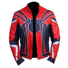 Spiderman Movie Celebrity Costume Halloween Red Leather Jacket Mens - 4XL / Faux Leather