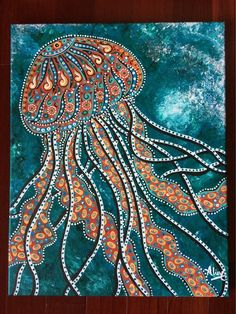 "Items similar to Original Jellyfish art, original painting jellyfish surreal funky beach ocean, acrylic canvas art, cool art Aline Cross Art ""beach art"" on Etsy Aboriginal Dot Painting, Dot Art Painting, Mandala Painting, Encaustic Painting, Rock Painting, Art Original, Original Paintings, Quote Paintings, Canvas Paintings"