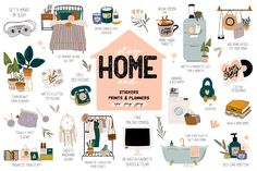 stay home illustration STAY HOME and. by Ruslana Vasiukova on creativemarket Marca Personal, Bullet Journal Inspiration, Business Money, Craft Business, Business Ideas, Food Illustrations, Graphic Design Inspiration, Cute Stickers, Art Education