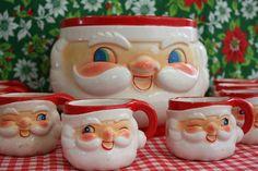 Vintage Santa Punch Bowl Set by janesaysshop, via Flickr