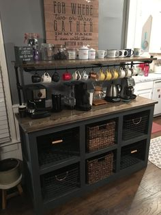 Are you looking for inspiration to design coffee bar? Check out our best collection of DIY coffee bar ideas for your home that will brighten your morning. Coffee Bars In Kitchen, Coffee Bar Home, Home Coffee Stations, New Kitchen, Kitchen Decor, Kitchen Ideas, Kitchen Pantry, Decorating Kitchen, Kitchen Sinks