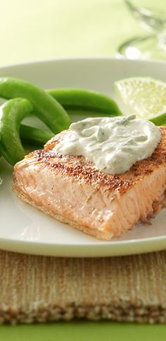 Cumin rubbed salmon pairs perfectly with a creamy lime sauce for a touch of the tropics