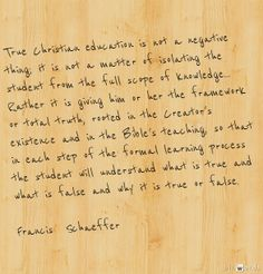 Francis Schaeffer on Education