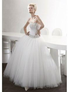 Tulle Ball Gown Strapless Straight Neckline Boned Bodice Wedding Dress