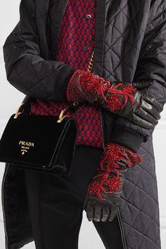 Prada | Bead-embellished leather gloves | NET-A-PORTER.COM