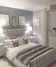 Silver bedroom decor, master bedroom grey, grey and white room, grey room d Grey Bedroom Design, Silver Bedroom Decor, Silver And Grey Bedroom, Bed Design, Silver Room, Silver Bedding, Design Set, House Design, Grey Room