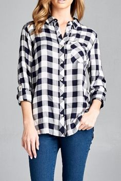 You can't go wrong with a classic plaid button down in blue and white plaid.   The Jessica Plaid by Staccato. Clothing - Tops - Button Down Minneapolis, Minnesota