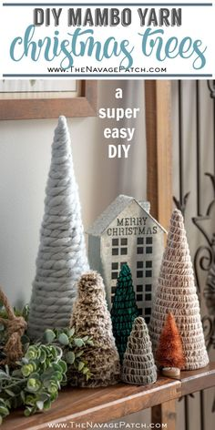 These DIY Mambo Yarn Trees are a fun and simple craft that can be made in colors that are perfect for farmhouse or vintage Christmas decor! Fun Christmas, Homemade Christmas Decorations, Diy Christmas Ornaments, Xmas Decorations, Christmas Projects, All Things Christmas, Vintage Christmas, Diy Yarn Ornaments, Yarn Trees