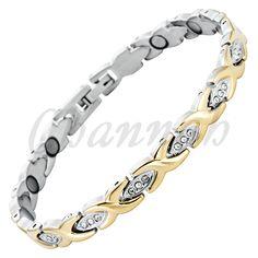 Find More Chain & Link Bracelets Information about Stainless Steel 2 Tone… Cheap Bracelets, Bangle Bracelets, Ladies Bracelet, Bangles, Link Bracelets, Stainless Steel Bracelet, Crystal Jewelry, 18k Gold, Magnets