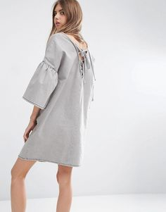 ASOS+Denim+Dress+with+Fluted+Sleeves+and+Tie+Back