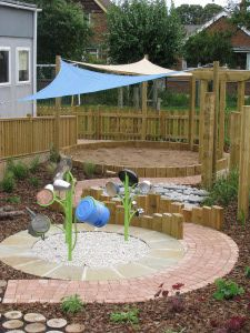 Kids garden idea- good use of posts for height and visual interest