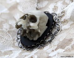 Skull Cameo necklace - Eternal - Sale on hand aged ivory Victorian Gothic 3D skeleton cameo pendant, unisex, psychobilly, horror, zombie. $17.00, via Etsy.