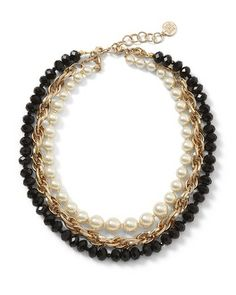 White House | Black Market Goldtone Jet/Glass Pearl Convertible Necklace #whbm