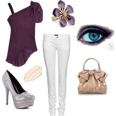 White Skinny Jeans. Deep Purple. Love the ring. Not a fan of the heels & bag.