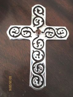 "Silver Plated Cross Wall Hanging Cut Out Design Amber Glass Center 6.5"" x 9"""