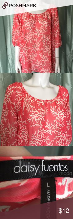 Daisy Fuentes peach and white patterned blouse Cute top is pink with white branch pattern. Slightly sheer and great for layering. Sleeves are a great length. Beautiful shirt for many occasions. Daisy Fuentes Tops Blouses
