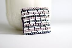 Beaded square brooch in white and purple. Minimalist brooch by BibaStore on Etsy Handmade Items, Handmade Gifts, My Etsy Shop, Minimalist, Stripes, Brooch, Trending Outfits, Make It Yourself, Unique Jewelry