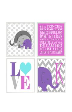 Nursery Art  Prints  Elephant Chevron  Pink by RizzleandRugee