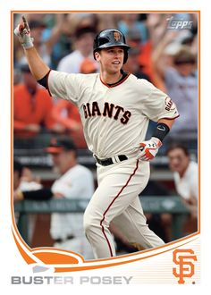 The 2013 Topps baseball card of MVP Buster Posey! San Francisco Giants baseball is almost back!