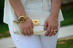 Fabulous-30s-all-white-outfit-red-heels-curvy-fashion-blog-outfits- accessories- jewelry-Michael Kors watch