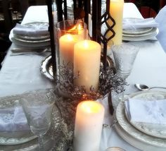 Winter cottage outdoor tablescape