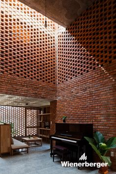 Built in an extreme climate in Da Nang, Vietnam, the Termitary House by Tropical Space exhibits an intriguing architecture. Brick was used extensively in the Architecture Design, Tropical Architecture, Contemporary Architecture, Residential Architecture, Brick Detail, Brick Art, Exposed Brick Walls, Brick Facade, Brick Fence