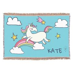 Kawaii Cute Doodle Rainbow Unicorn and Stars. Throw Blanket - monogram gifts unique design style monogrammed diy cyo customize