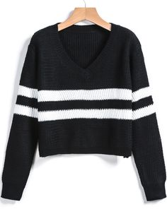 Shop Black V Neck Striped Crop Sweater online. Sheinside offers Black V Neck Striped Crop Sweater & more to fit your fashionable needs. Free Shipping Worldwide!