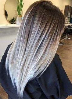 62 amazing contrasts of balayage hair colors for 2018 - . - 62 amazing contrasts of balayage hair colors for 2018 … – living room - Brunette Color, Ombre Hair Color, Cool Hair Color, Blonde Color, Grey Ombre, In Style Hair Colors, Winter Hair Colors, Pastel Grey, White Blonde