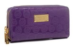 Michael Kors Mirror Zipper Metallic Golden Logo Purses Purple