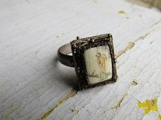 Antique Ivory Ring / Asian Motif Painted Ivory Ring by LUXXOR, $108.00