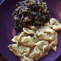 #friday evening #dinner just whipped up #spinach filled #tortellini with my #homemade spinach #cheese #sauce using #diaryfree cheese and #callaloo with #saltfish #healthyeating #madebyme #foodie #foodgasm #foodpics #foodstagram #morgansnature #doingme