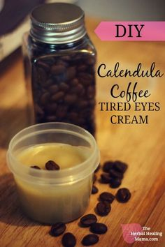 The Caffeine in Coffee is known to reduce puffy eyes and under eye dark circles. This recipe also calls for Coconut oil, and calendula which will reduce fine lines and wrinkles. Calendula is so ama…