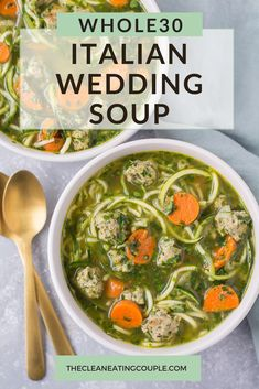 This Healthy Italian Wedding Soup is the perfect cozy, easy dinner. Paleo, and low carb - this soup can be made in the crockpot or on the stove! Healthy Turkey Recipes, Healthy Gluten Free Recipes, Whole30 Recipes, Lunch Recipes, Paleo Menu, Healthy Soups, Healthy Options, Healthy Eats, Easy Whole 30 Recipes