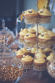 Bumble bee cupcakes at a baby shower!  See more party ideas at CatchMyParty.com!